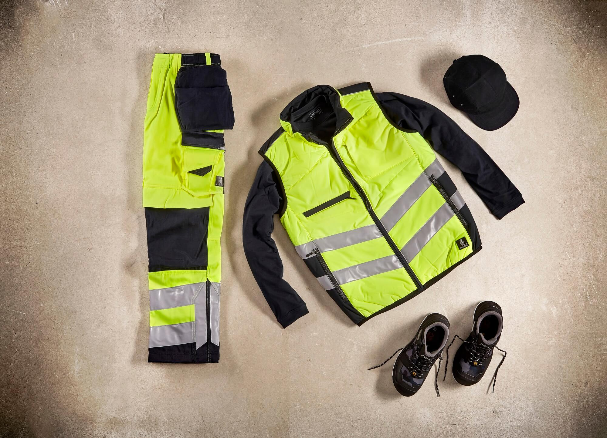 Traffic Vest & Pants with kneepad pockets and holster pockets  - Fluorescent yellow - Collage