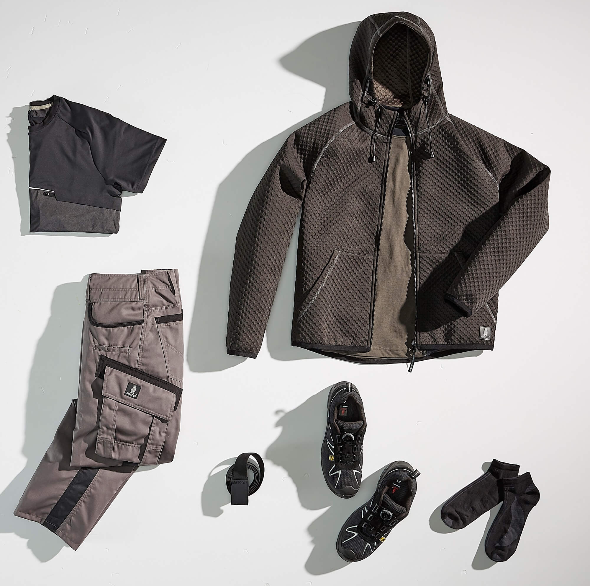 Collage - Hoodie, T-shirt & Work Pants - Grey