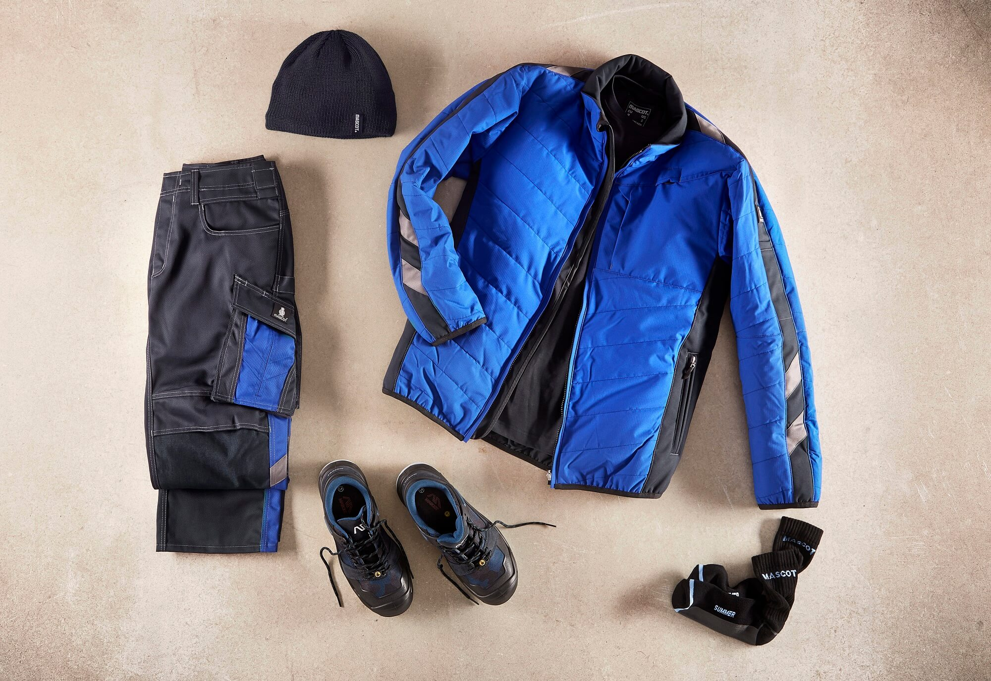 Royal blue - Thermal Jacket, Work Pants, Safety footwear & Knitted Hat - Collage