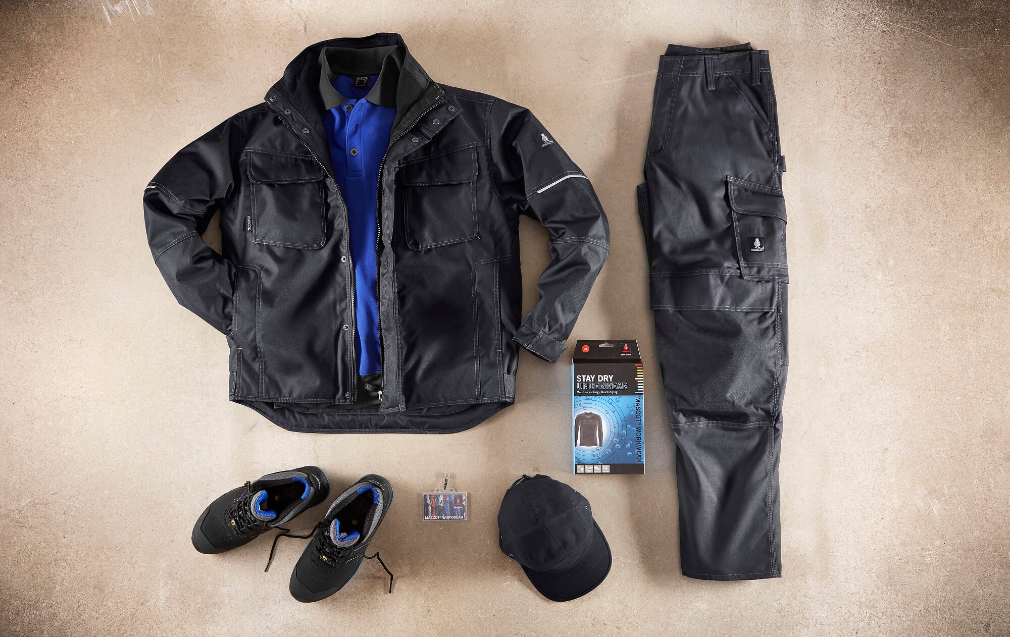 Black - Winter Jacket, Polo shirt, Pants. Underwear & Safety Shoe - Collage