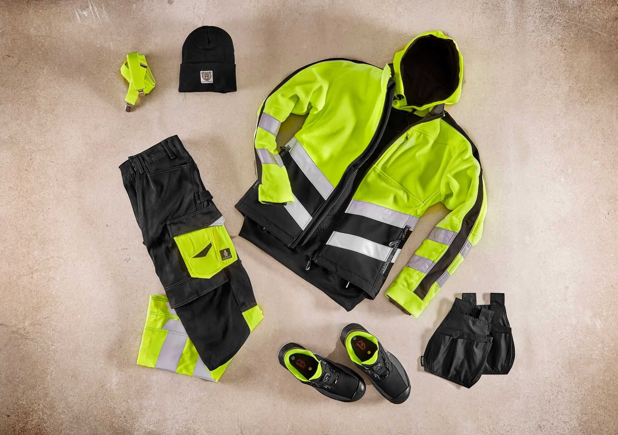 Collage - Fleece Jacket, Hoodie & Pants - Fluorescent yellow