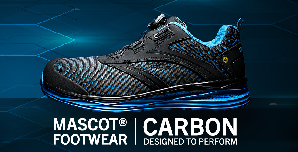 Lightweight, shock-absorbing safety footwear  with carbon fibre toe cap