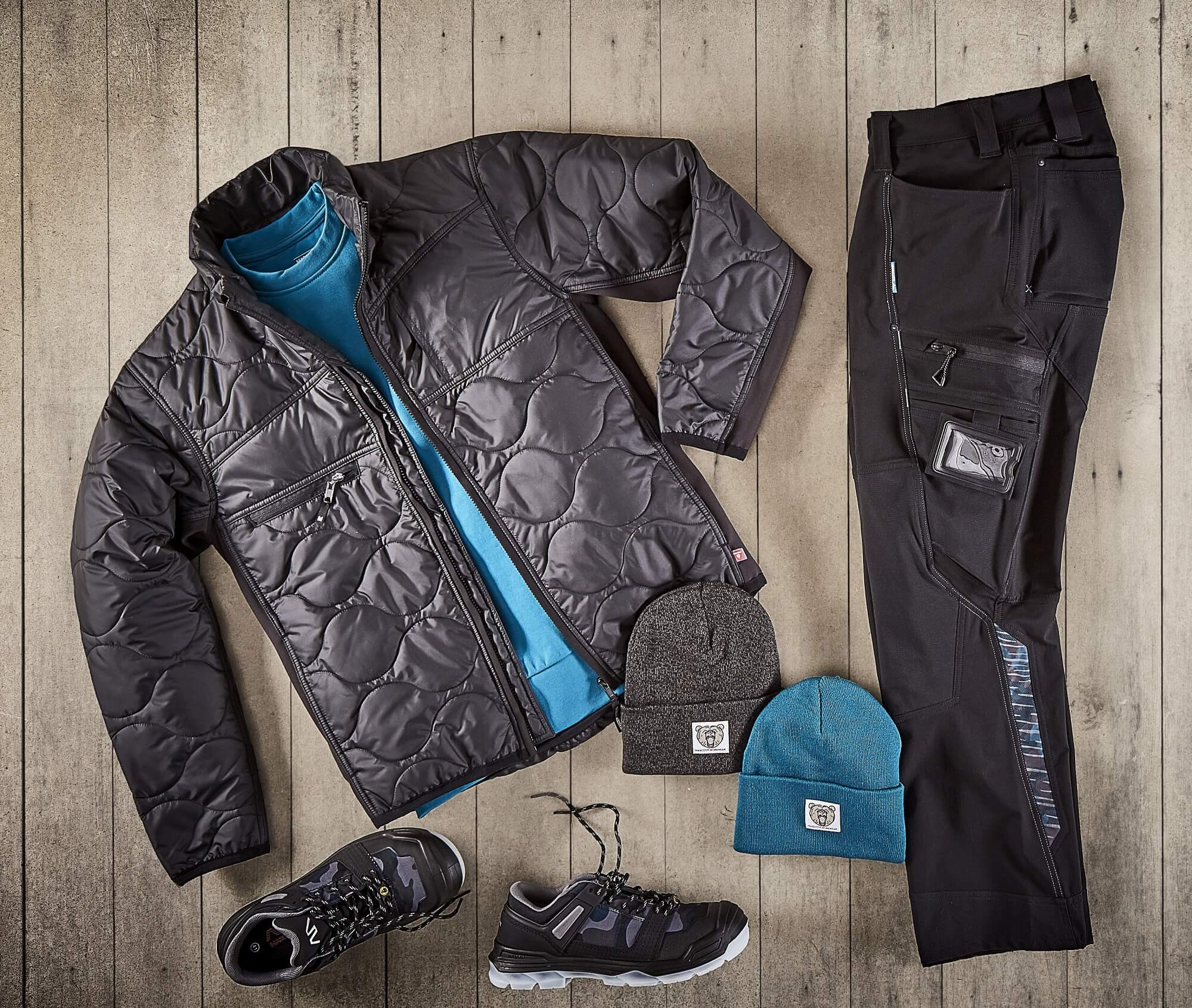 Thermal Jacket, STRETCH Pants & Knitted Hats - Black - Collage
