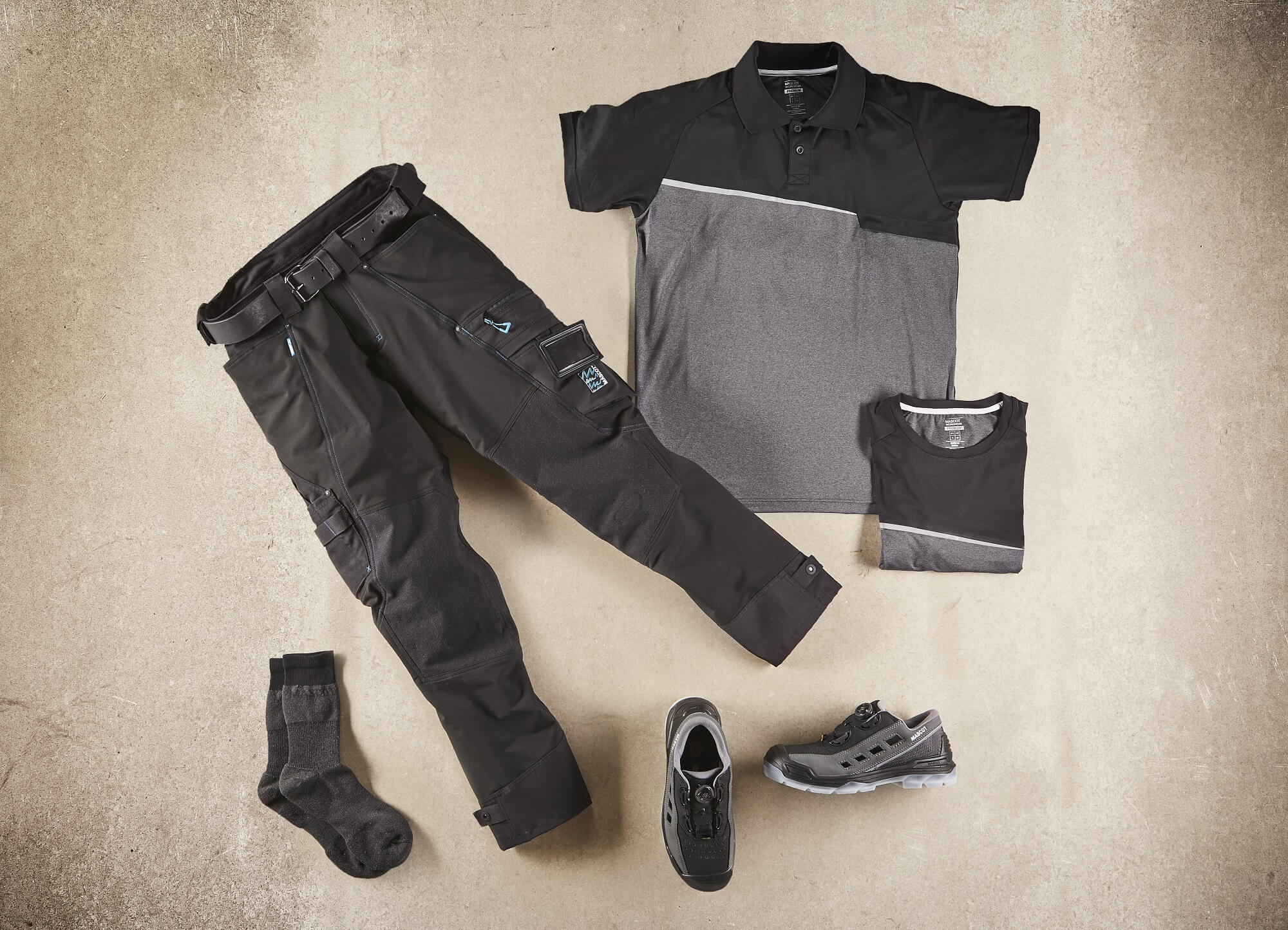 Black - Work Polo Shirt, Pants, Safety Sandal & Socks - Collage