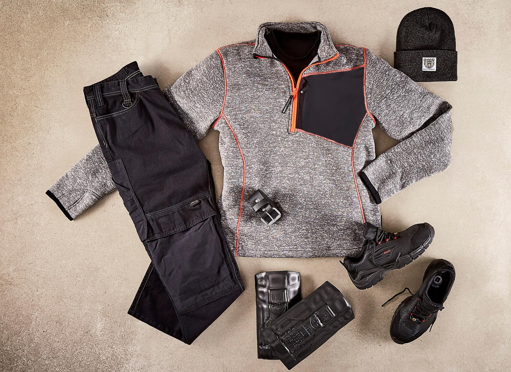 Collage - Knitted Jumper with half zip, Pants, Safety footwear & Accessories