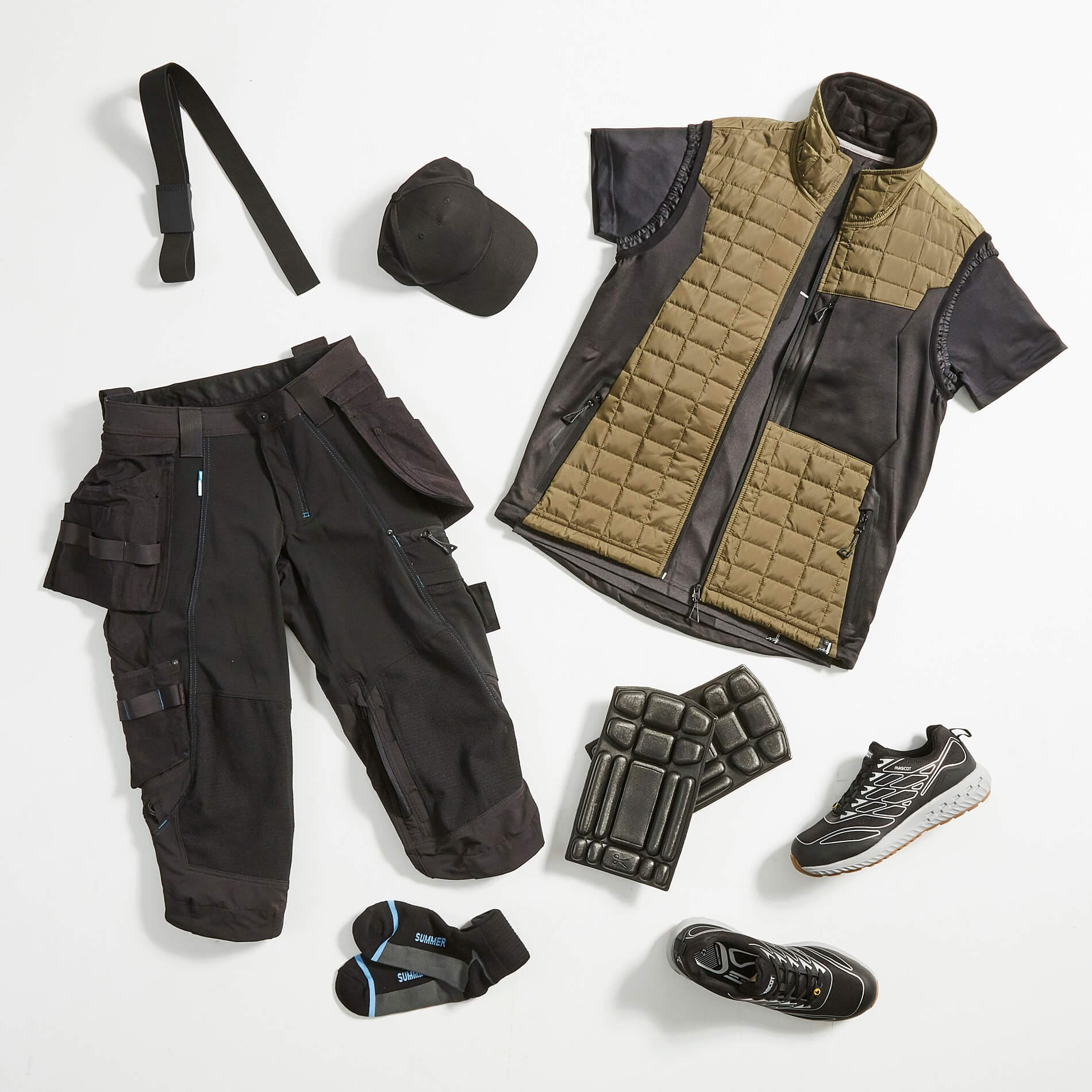 Olive green & Black - Work Gilet, ¾ length pants & Accessories - MASCOT®