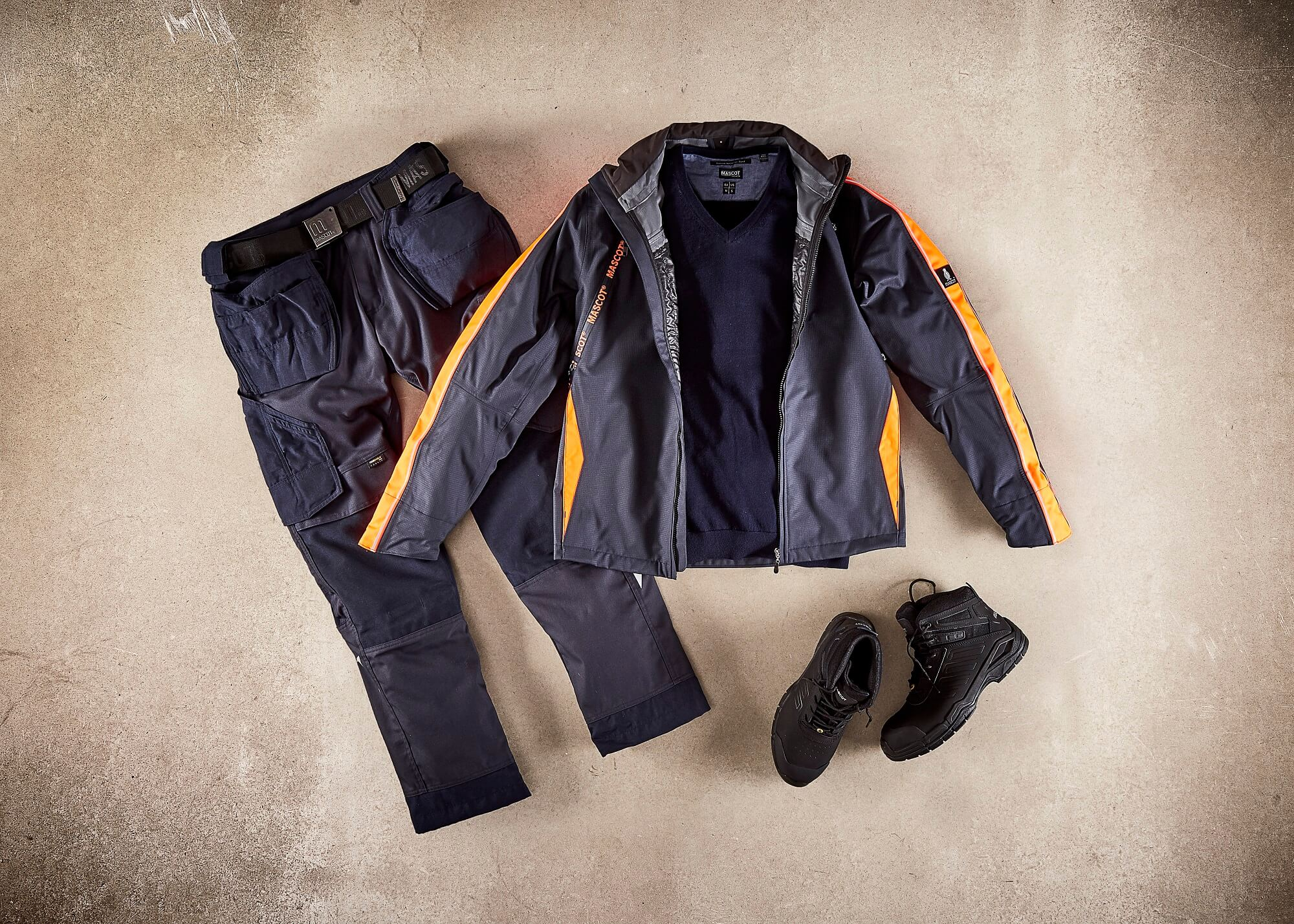 Navy - Outer Shell Jacket, Work Pants & Safety Boot - Collage