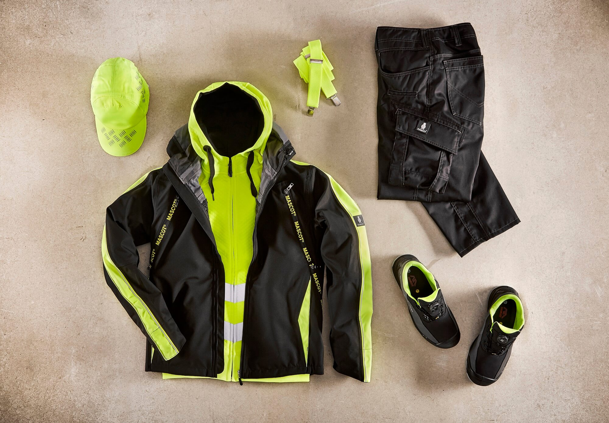 Collage - Fluorescent yellow - Outer Shell Jacket, Hi-vis Jumper, Work Pants & Cap