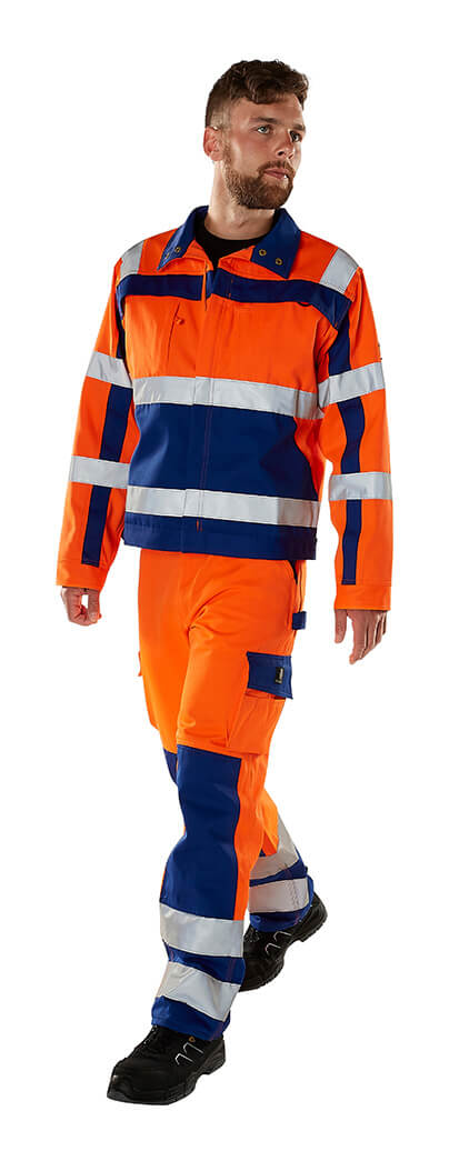 MASCOT® SAFE COMPETE Pants with kneepad pockets & Jacket - Fluorescent orange - Model