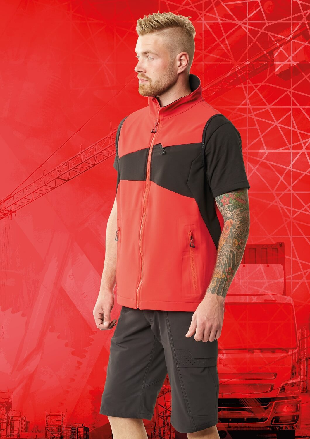 Man - Work Gilet & Shorts - MASCOT® ACCELERATE - Red
