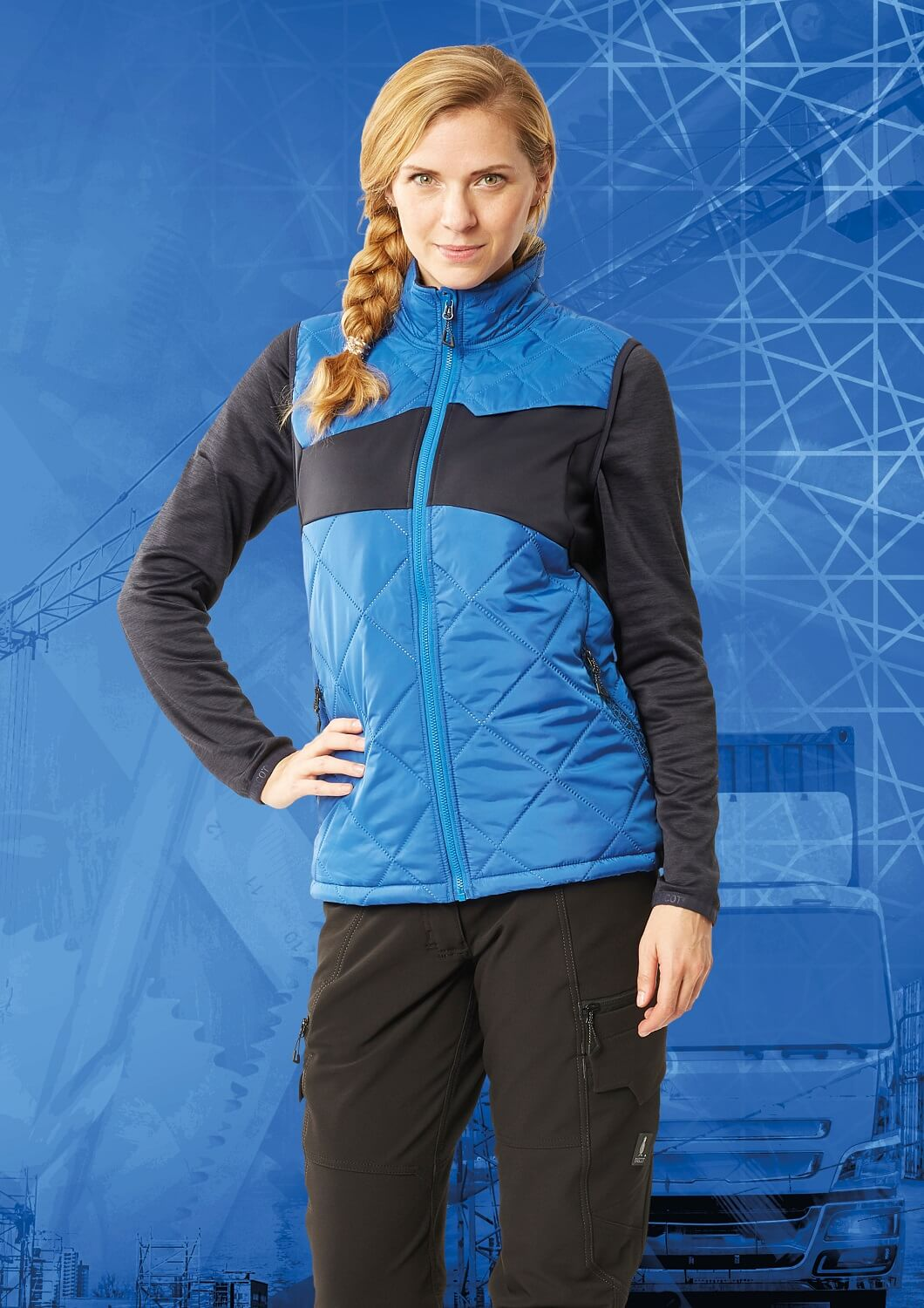 Gilet for women & Work Pants - MASCOT® ACCELERATE - Royal blue & Black