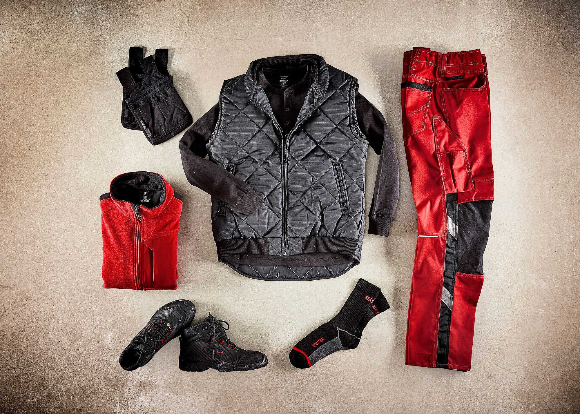 Collage - Thermal Gilet, Zipped Jumpers & Work Pants - Red