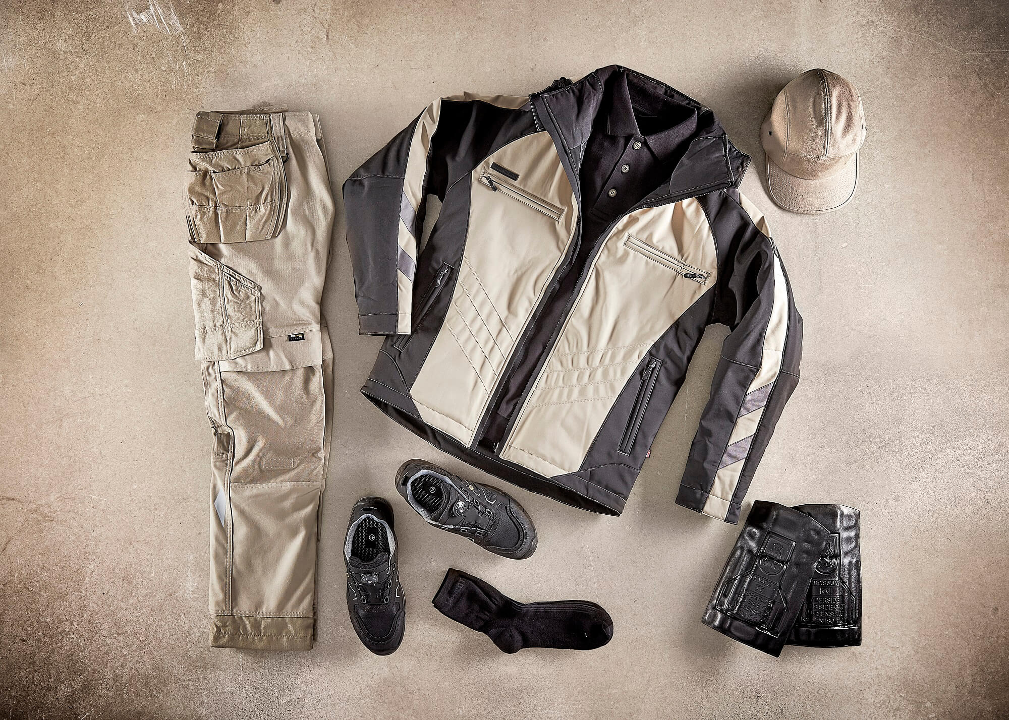 Khaki - Collage - Winter Jacket, Craftmen's Pants & Accessories