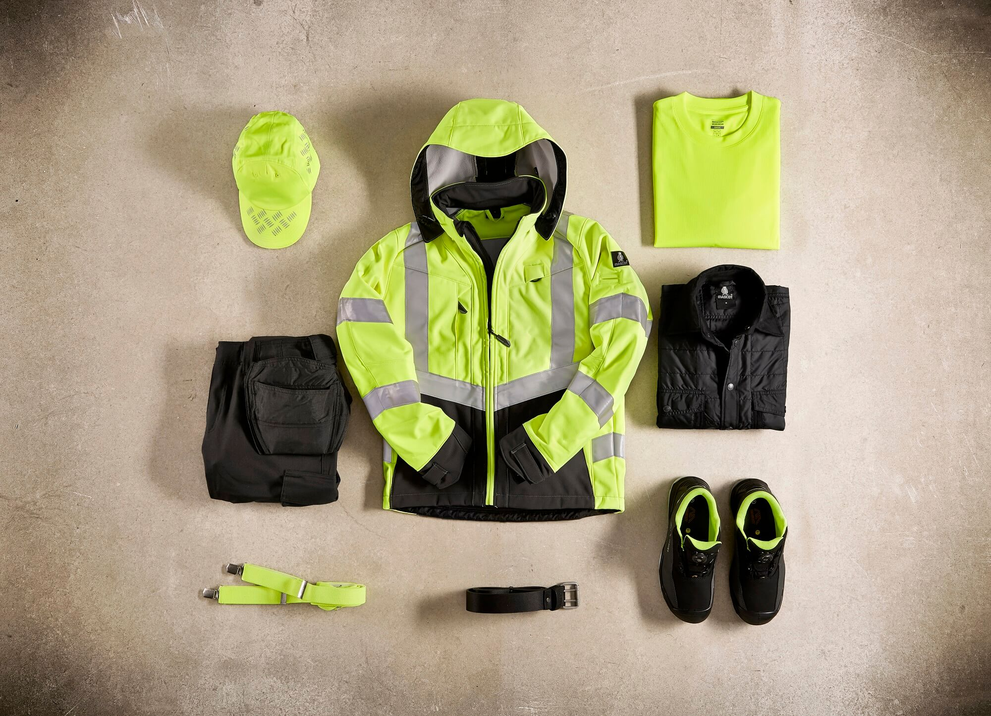 Fluorescent yellow - Jacket, T-shirt, Pants & Safety footwear - Collage
