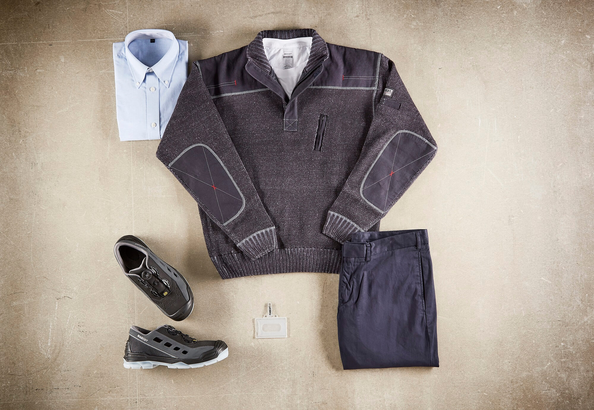 Collage - Knitted Jumper, Shirts, Pants & Safety Sandal - Navy