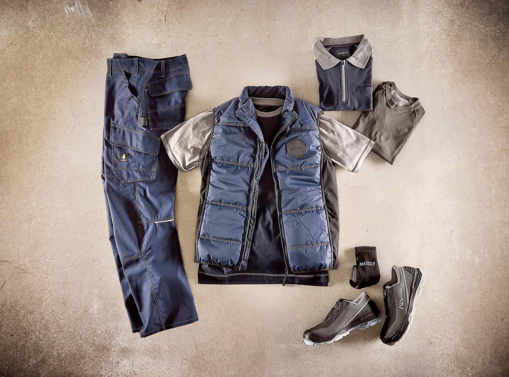 Collage - Safety Shoe, Pants & T-shirts - Navy