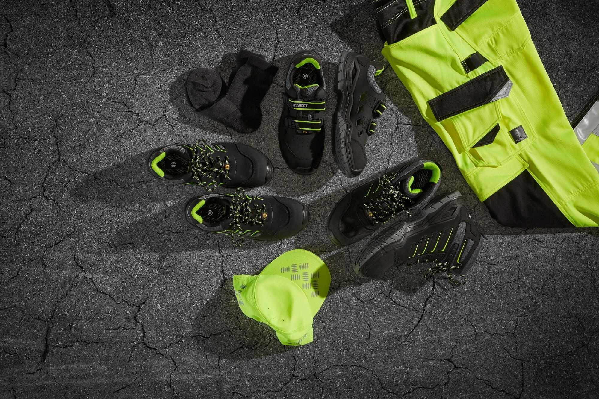 Collage - Hi-vis Pants & Safety footwear - Fluorescent yellow