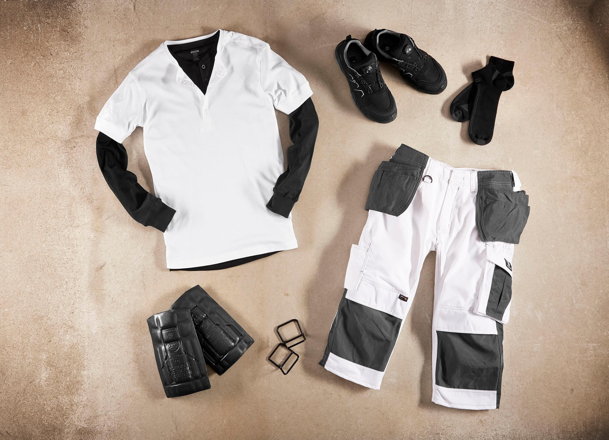 White - T-shirt, ¾ Work Pants & Accessories - Collage