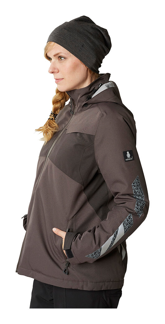 Grey - Hat & Jacket for women  - Model
