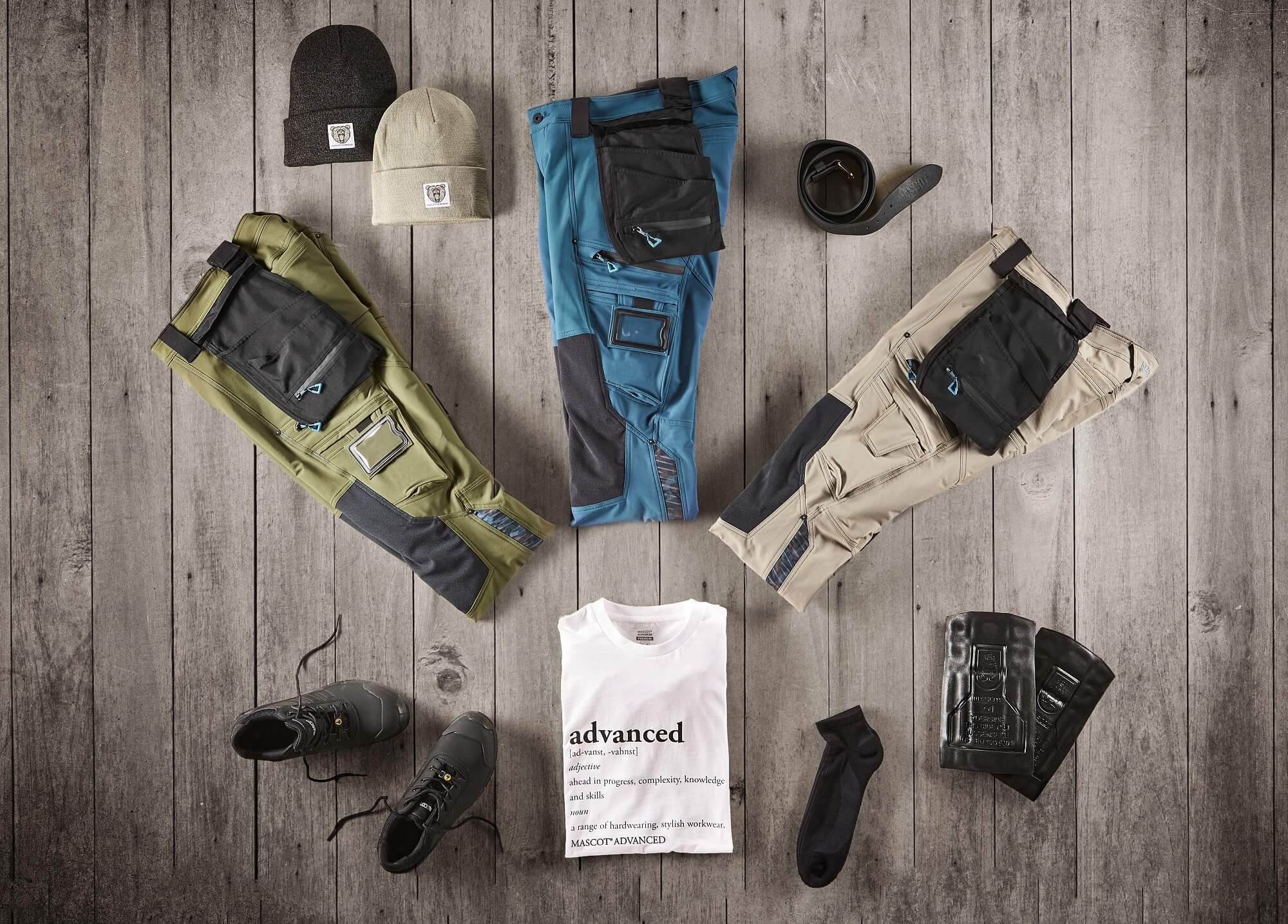 Collage - Pants, T-shirt & Safety footwear - ADVANCED