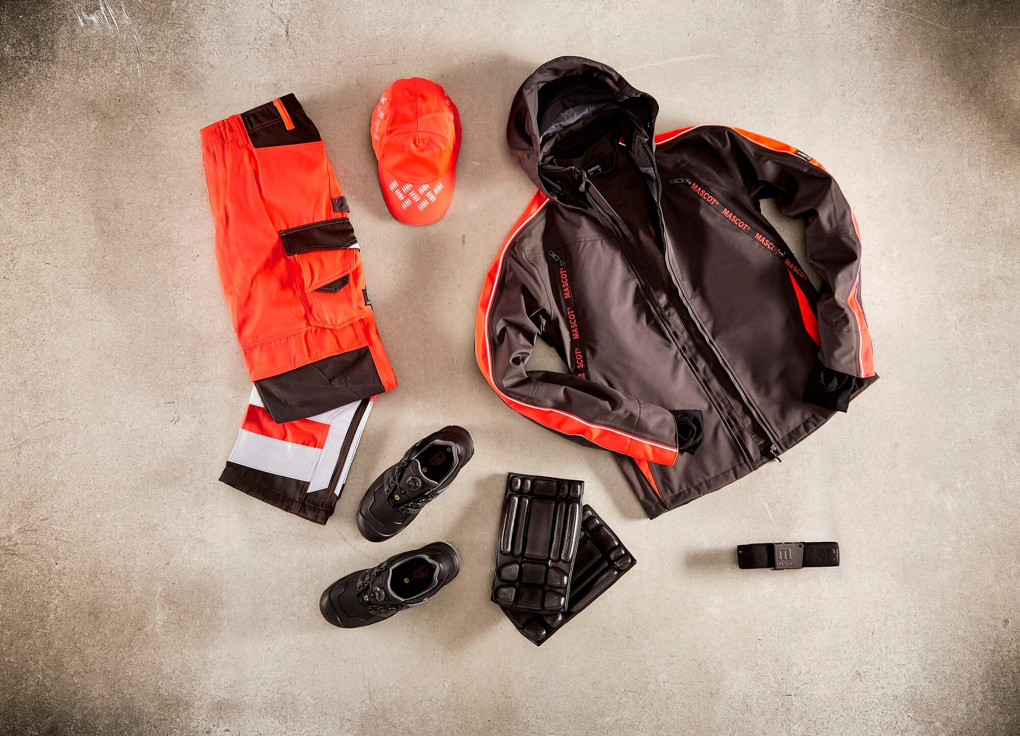 Collage - Hi-vis Pants, Jacket & Cap - Fluorescent red