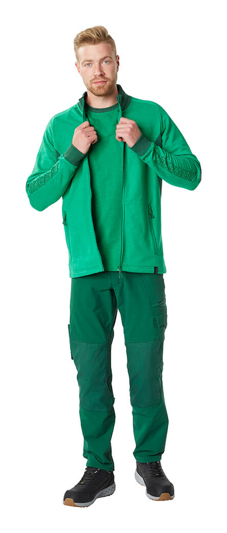 MASCOT® ACCELERATE - Green - Pants, Zipped Jumper & Work T-shirt - Man