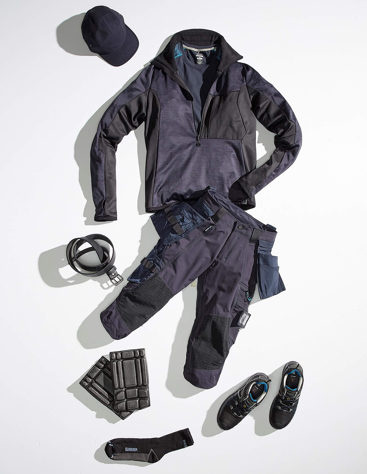 Navy - Work Jacket, ¾ length pants, Safety Shoe & Accessories - Collage