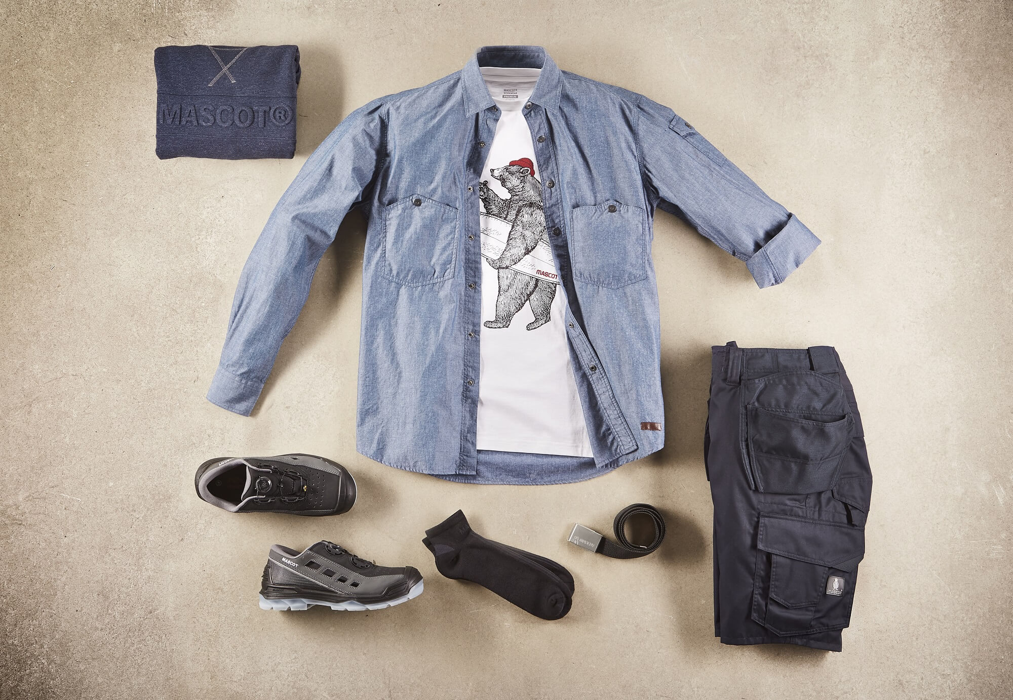 Collage - Shirt, T-shirt with Print, Pants & Safety Sandal