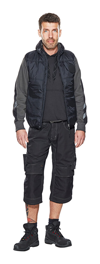 Model - Black - UNIQUE ¾ Length Pants with kneepad pockets, Gilet & Jumper
