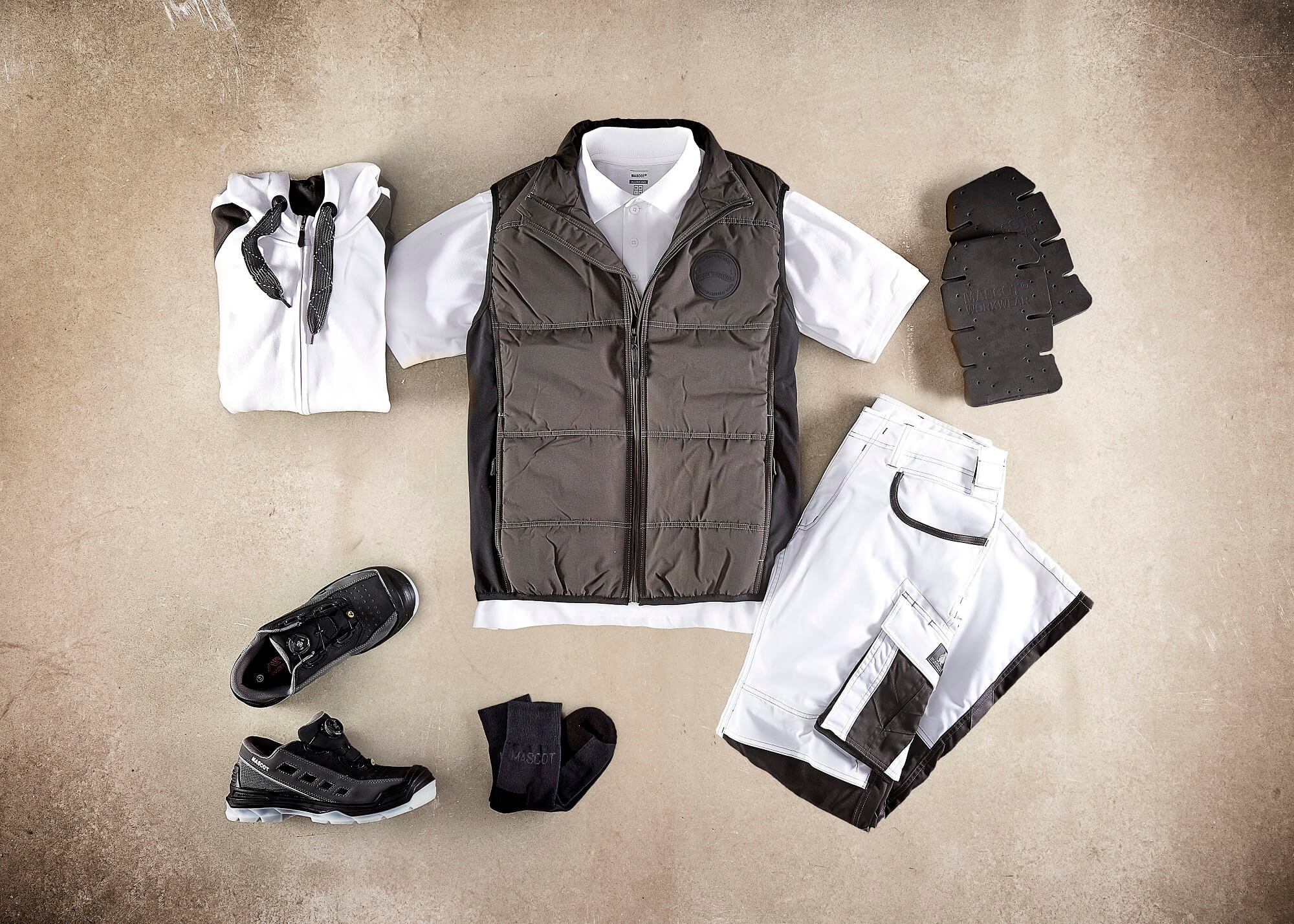 Thermal Gilet, Hoodie with zipper, Polo shirt, Pants & Safety Sandal - White - Collage