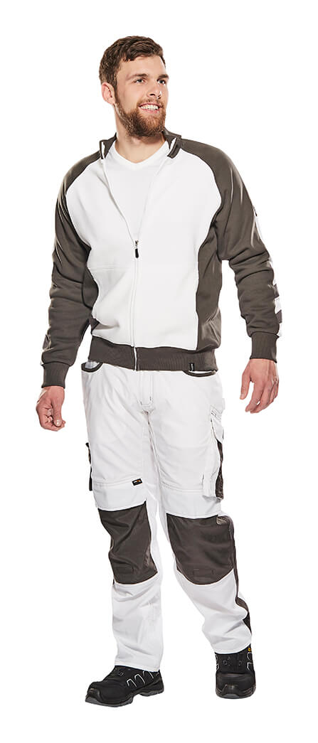 Man - White - Knitted Jumper with zipper & Pants with kneepad pockets - MASCOT® UNIQUE