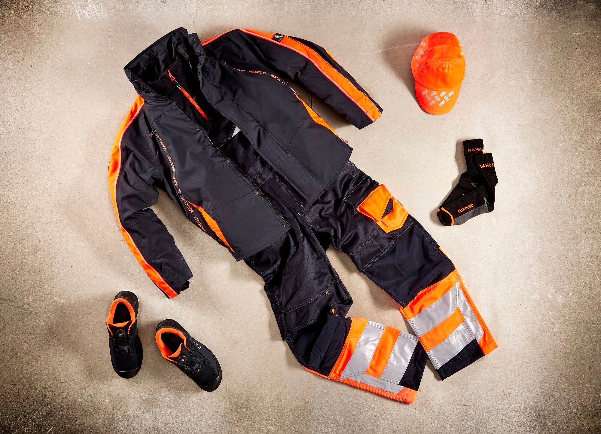 Fluorescent orange - Safety Shoe, Work Pants & Jacket - Collage