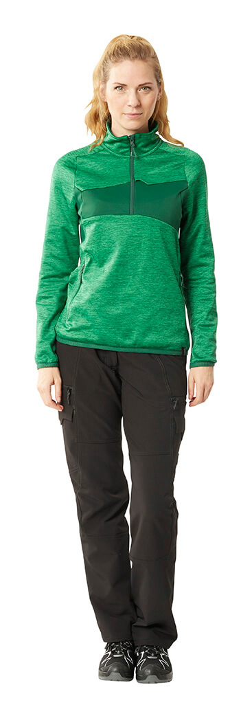 Woman - Half Zipped Jumper & Work pants for women - Green & Black