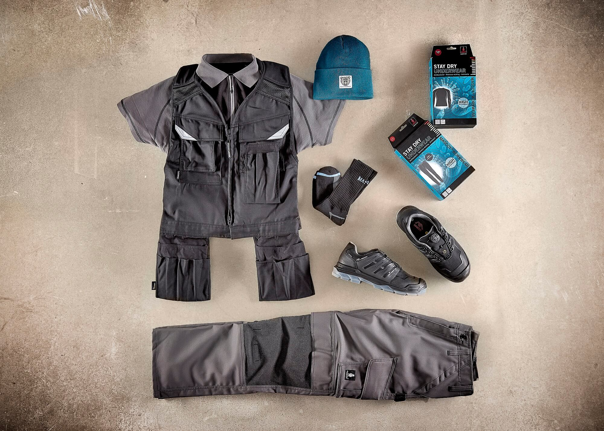 Grey - Tool Vest, Polo shirt & Pants with kneepad pockets - Collage