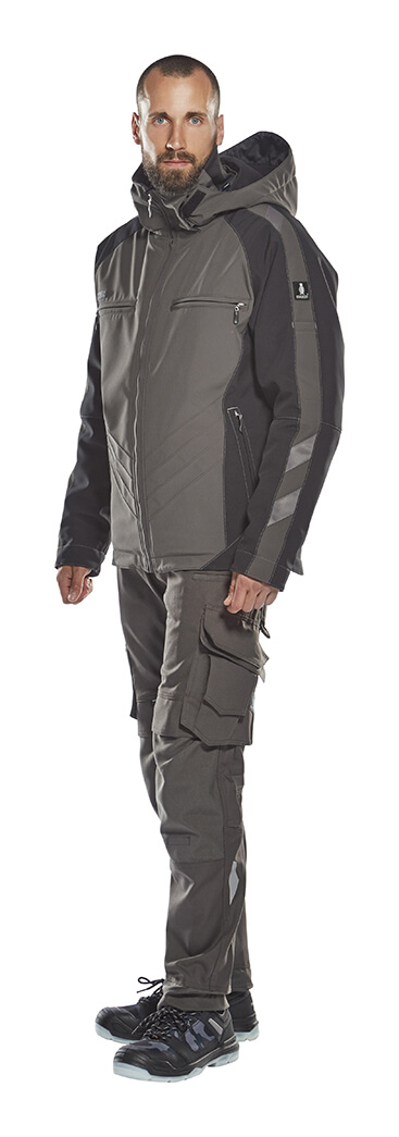 Pants with kneepad pockets & Winter Jacket - Grey - Model - MASCOT® UNIQUE