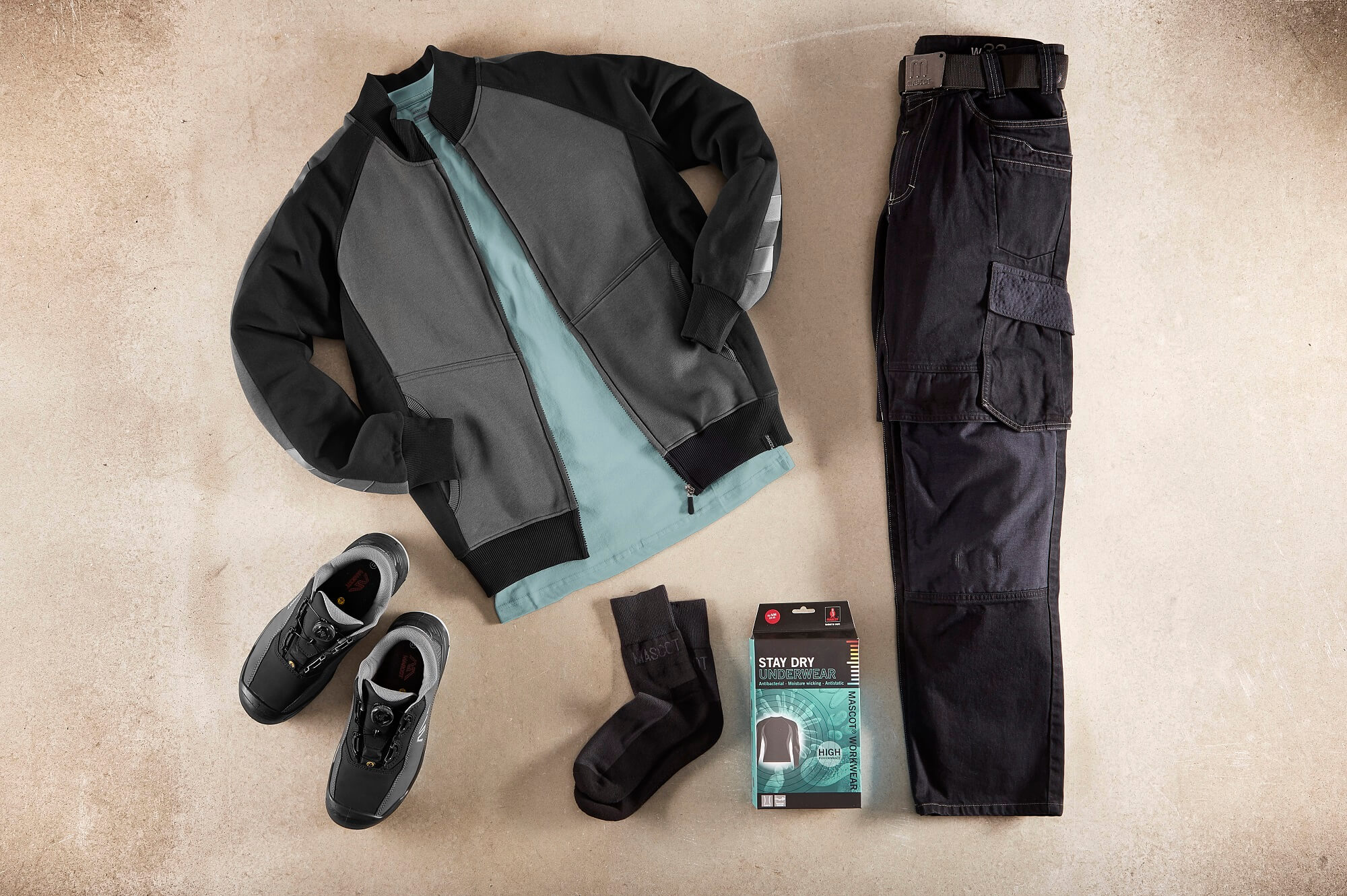 Grey - Zipped Jumper, T-shirt, Work Pants & Safety Shoe - Collage
