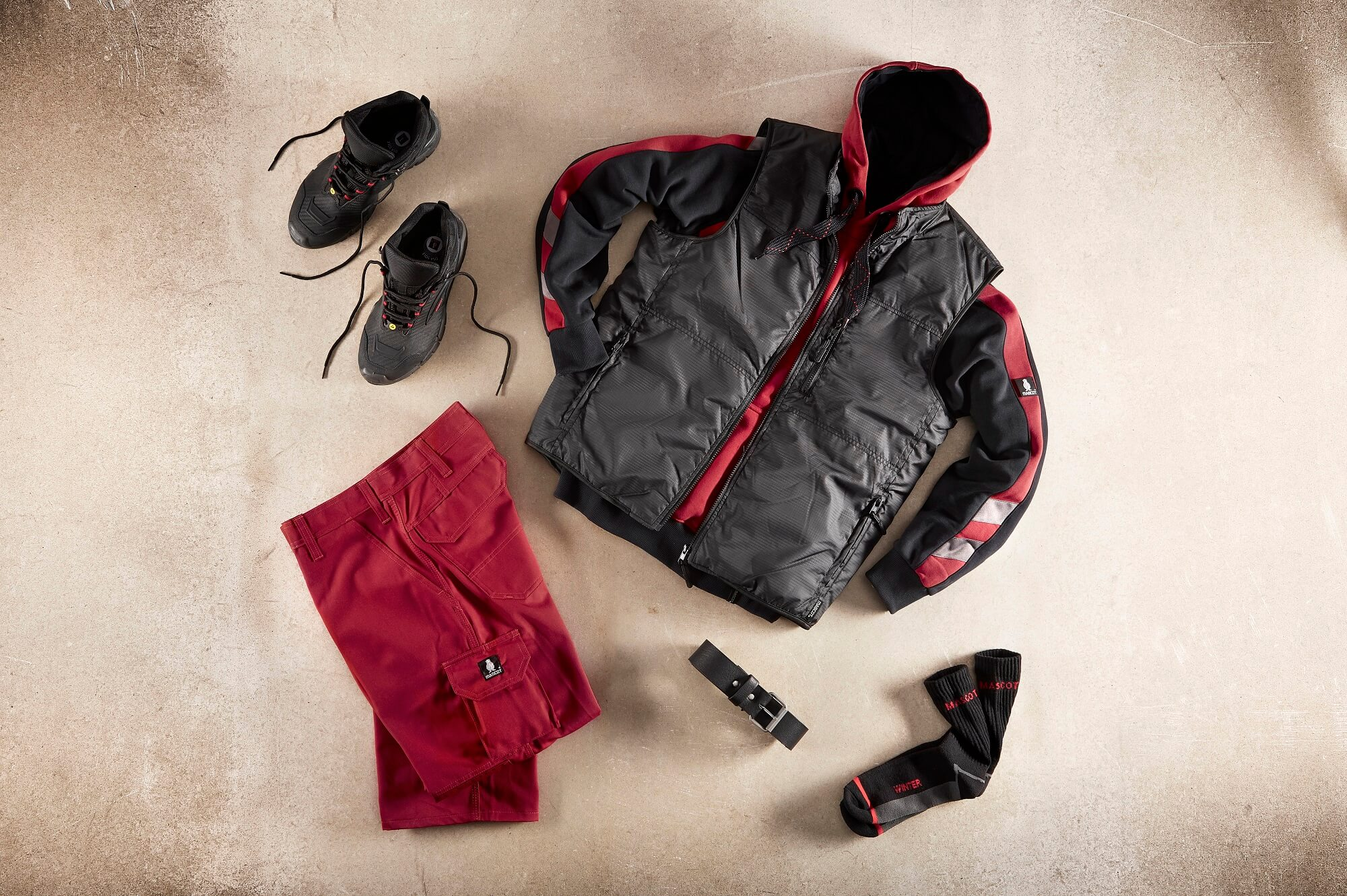 Collage - Red - Work Gilet, Hoodie & Pants
