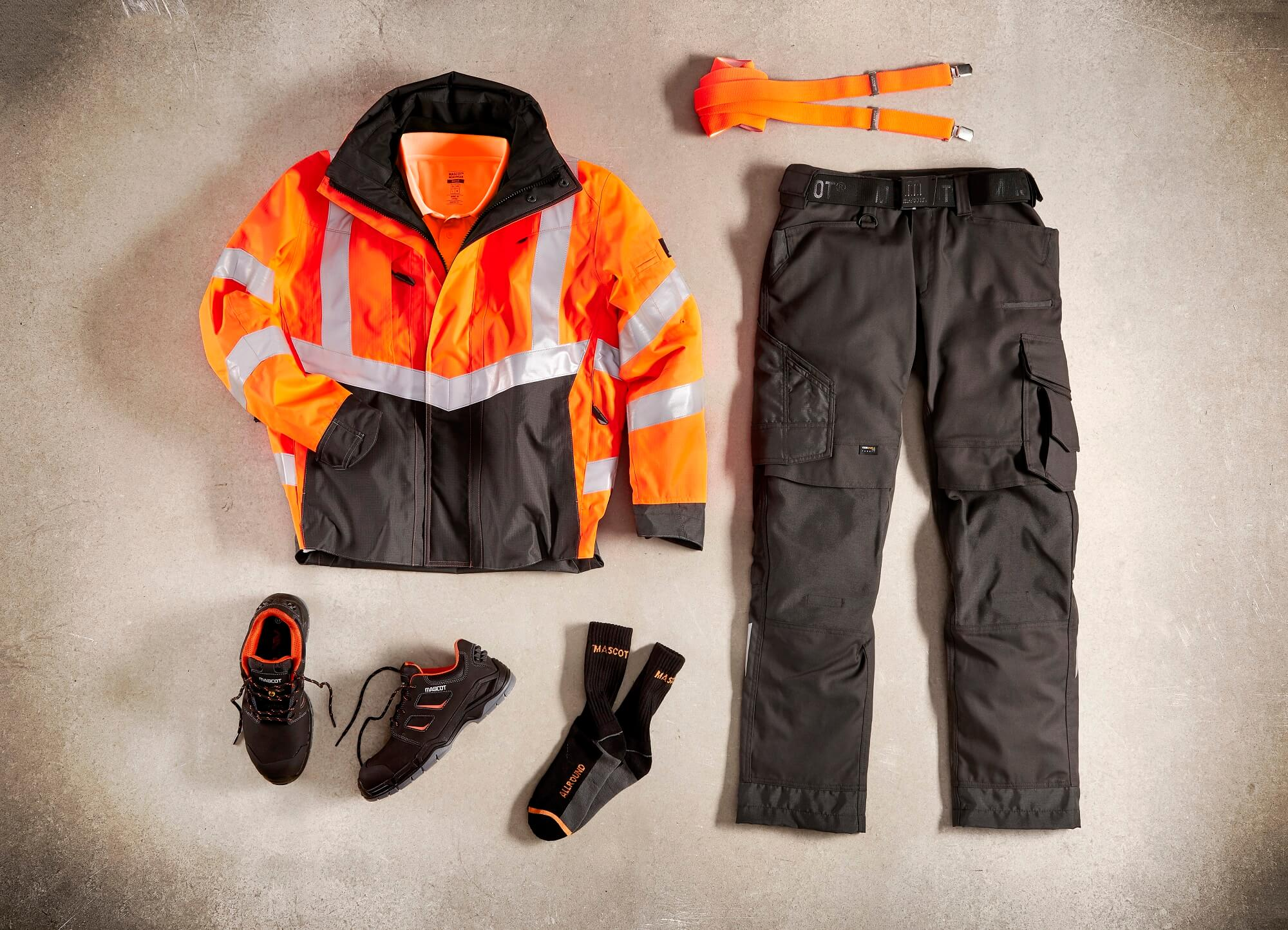Collage - Hi-vis Jacket, Pants, Socks & Safety Shoe - Fluorescent orange
