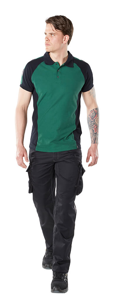 MASCOT® UNIQUE - Model - Green - Work T-shirt & Pants with thigh pockets