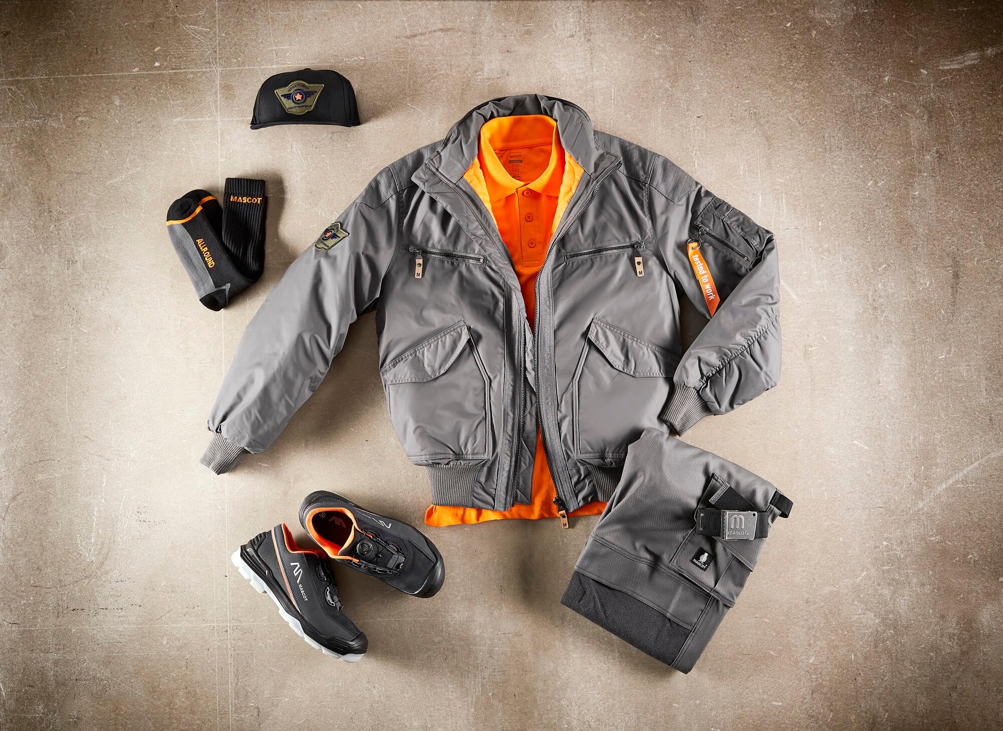 Pilot Jacket, Pants, Socks & Safety Shoe - Grey - Collage
