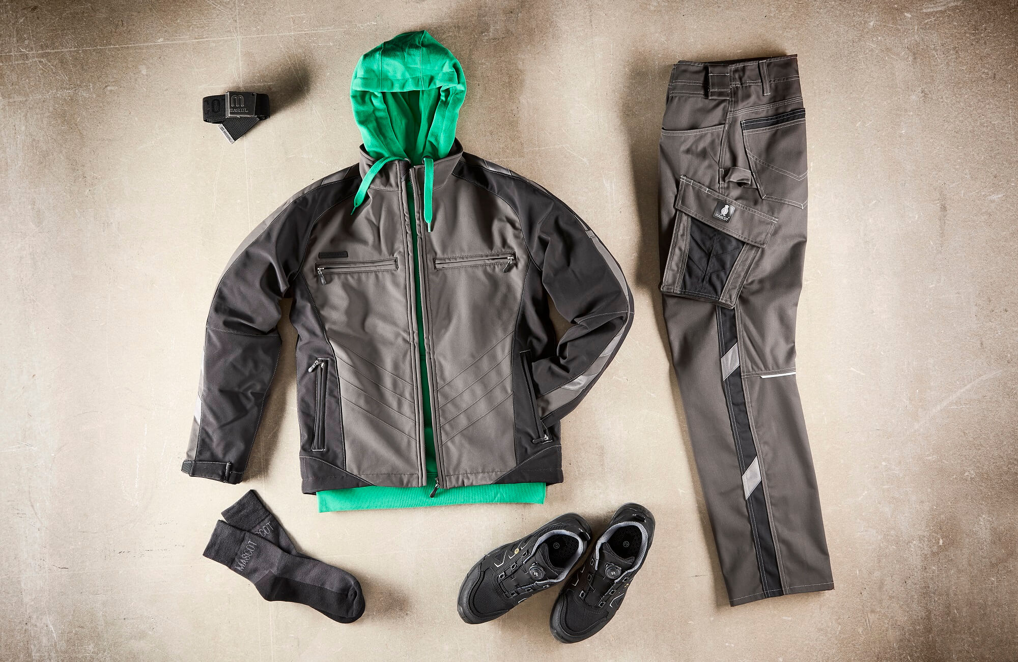 Collage - Safety Shoe, Softshell Jacket, Hoodie & Work Pants - Grey