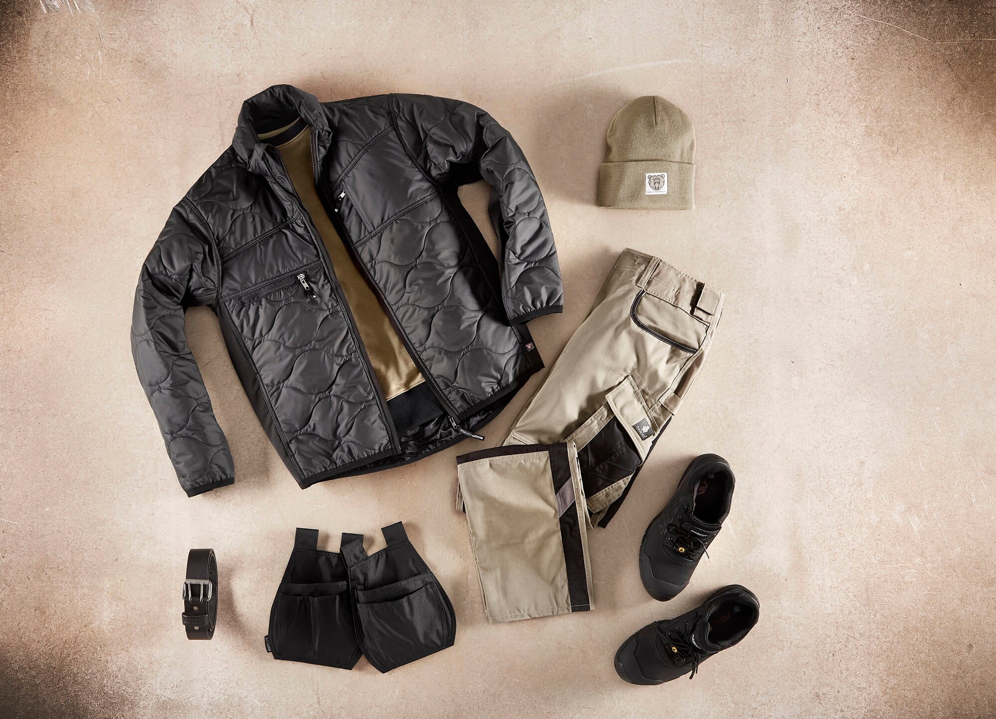 Thermal Jacket, Work Pants & Holster Pockets - Khaki - Collage