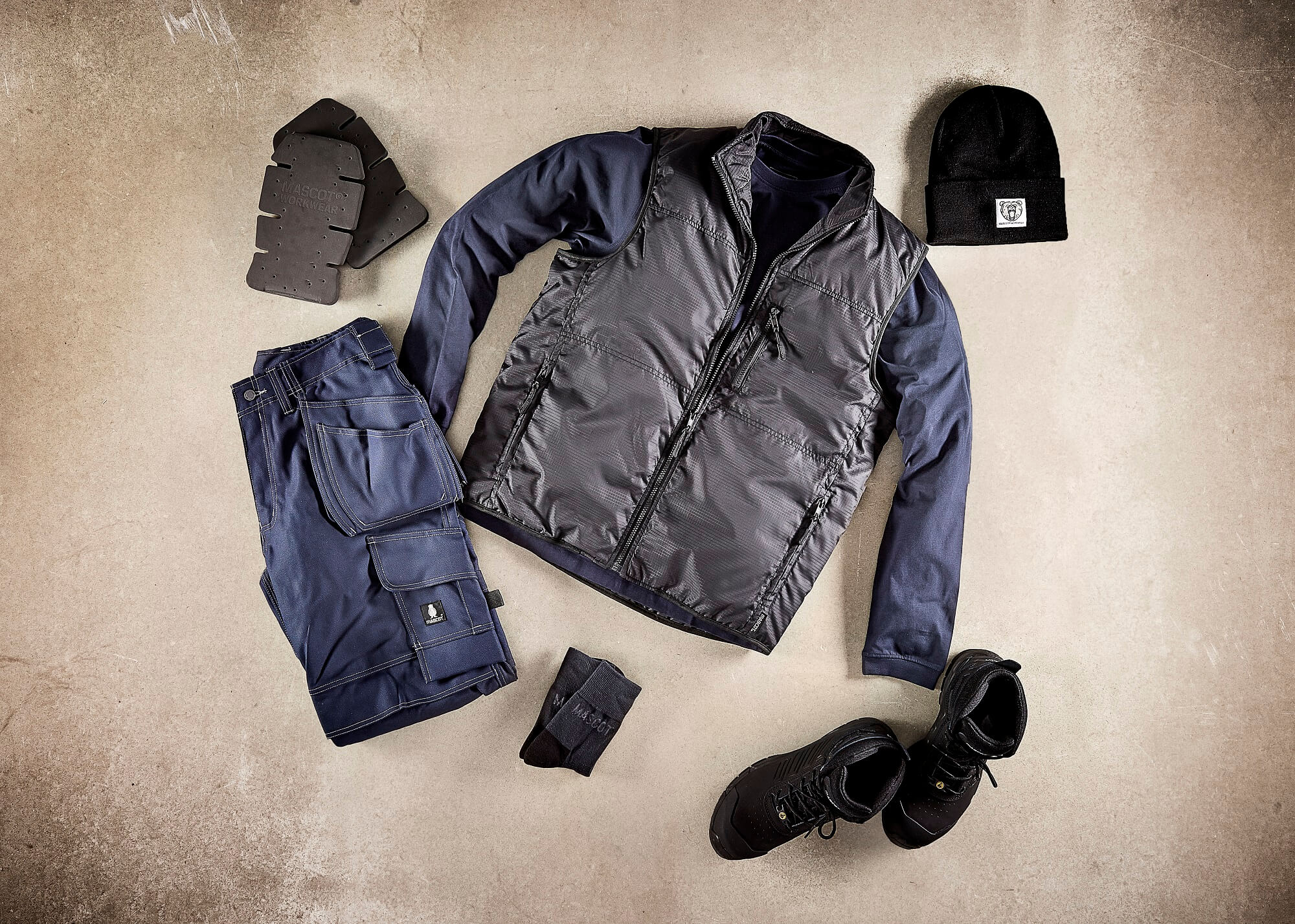 Work Gilet, Pants & Safety Boot - Collage - Navy