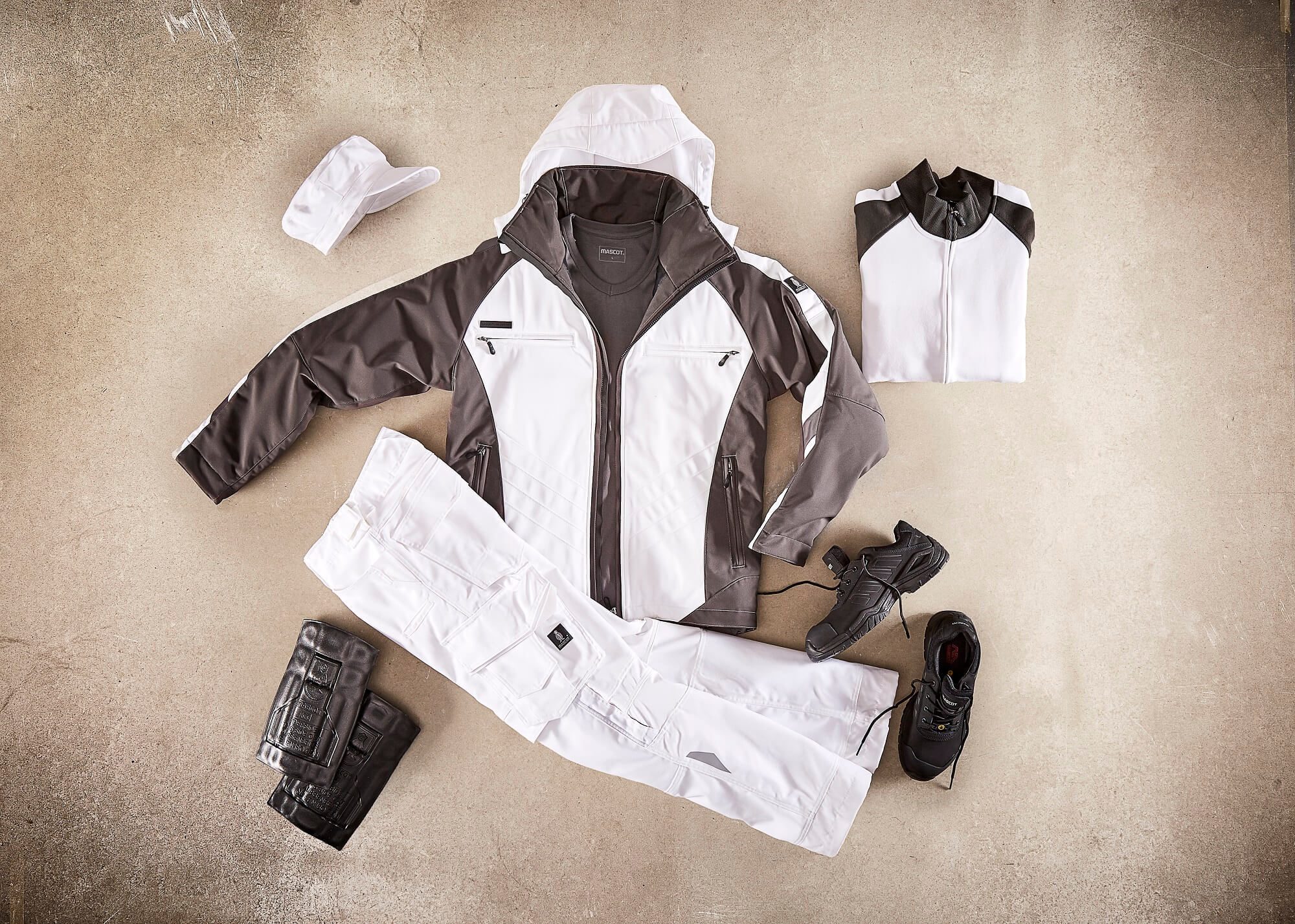 Collage - Winter Jacket, Pants, Jumper & Safety Shoe - White