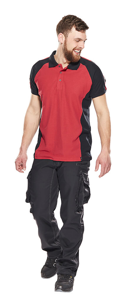 Model - Work Polo Shirt & Trousers Red - UNIQUE